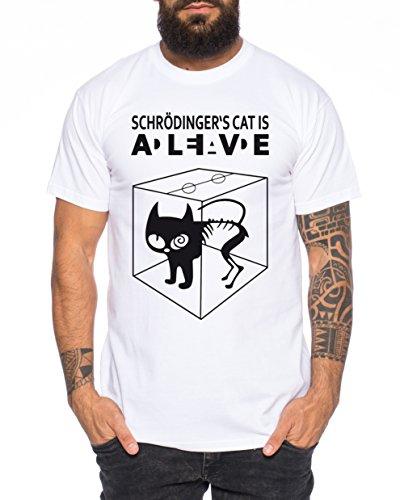 WhyKiki Schroedingers Katze Sheldon Nerd Herren T-Shirt, Farbe:Weiss;Größe:XXL