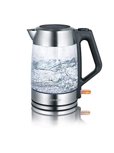 SEVERIN WK3475 Seve Wasserkocher Glas WK 3475 1,7l sr, Edelstahl, 1.7 liters, Schwarz, Silber, Transparent