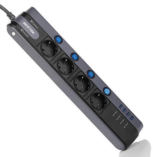 Regleta de Enchufe con 4 Tomas + 4 Salidas USB BESTEK Regleta con protección contra sobretensiones 900J y protección contra Rayos, Interruptores de Potencia Independientes, Negro