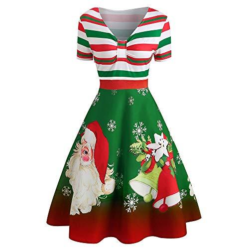 Babbo Natale Stampato Manica Lunga a Righe 1950 retrò Rockabilly Scollo a V Vestito Swing Abito da Cocktail Corte E Stampa Bowknot delle Donne Camicetta Lunga Vestiti Donna Estivi