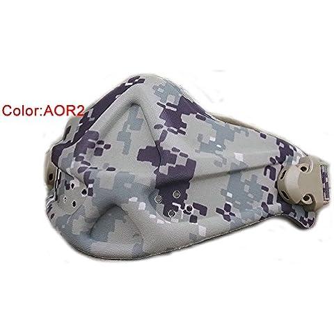 Militar Táctico para Airsoft y Paintball caza neopreno ligero espuma dura ajustable media cara nariz máscara de protección, AOR2