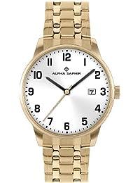 Alpha Saphir 313J - Reloj de caballero de cuarzo, correa de acero inoxidable color oro
