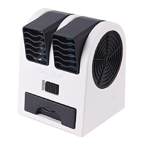NN-xUE Mini-Lüfter, Dual-Port-Lüfter, USB-Plattenlüfter, luftgekühlter Klimaanlagenlüfter, doppelter Verwendungszweck, tragbarer Umluftkühler,Black (Wenn 100 Ich Werden)