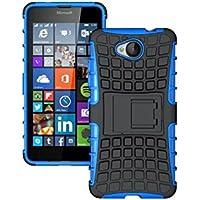 Dooki, Lumia 650 Hülle, Zerklüftet Kippständer Zäh Hohe Schlag Schwerlast Stoßfest Fallschutz Hybrid 2 in 1 Dual Schicht Hart Silikon Gummi Schützend Tasche Schutzhülle für Microsoft Lumia 650