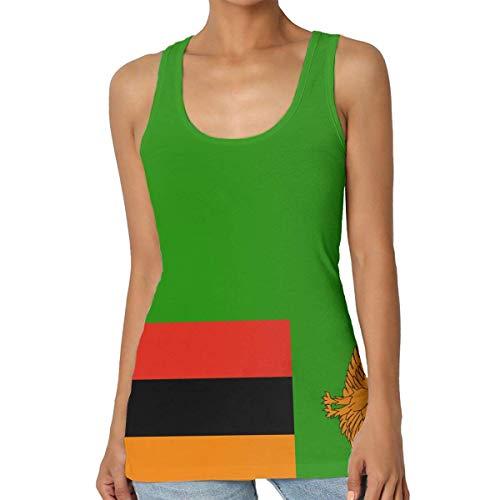 Henrnt Canotte Donna,Tank Top da Donna, Canottiere Estive, Flag of Zambia Women Tank Top T-Shirt Retro Sleeveless Sport Vest Racerback