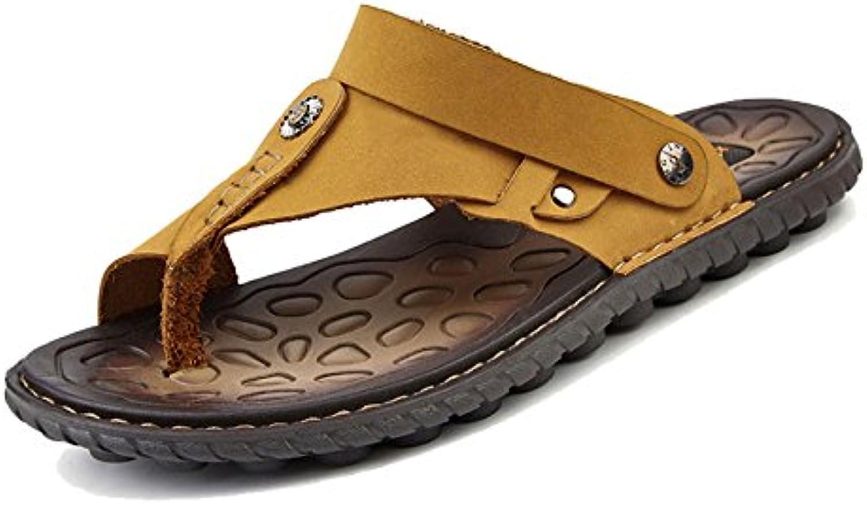Sandalias De Los Hombres De Cuero De Verano Ocasionales Antideslizantes Zapatos De Playa De Los Hombres Zapatillas...