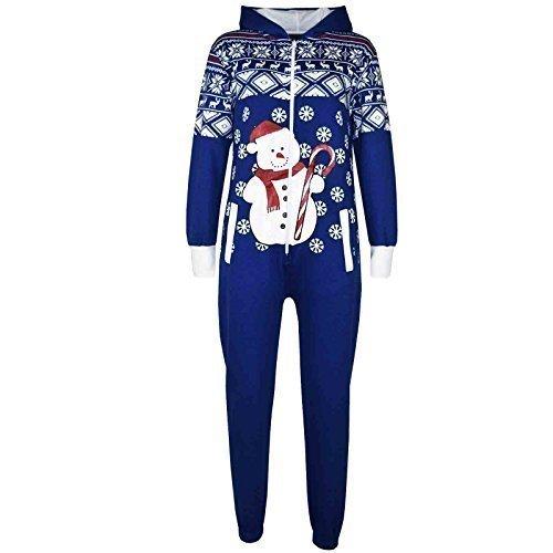 Kinder Mädchen Jungen Neuheit Weihnachts Schneemann Aufdruck Fleece Onesie Overall Kostüm 5-13 Jahren - Königsblau, 11-12 Years (Pikachu Strampelanzug Kostüm)