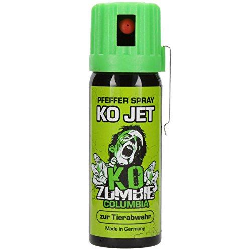 Columbia KO Jet Pfefferspray KO Zombie 50 ml Tier Abwehrspray mit Gürtelclip