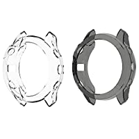 Compatible for Garmin Fenix 6 Pro Case, Lamshaw Silicone Case with Screen Protector (2 Pack) Compatible for Garmin Fenix 6 Pro/Garmin Fenix 6 / Garmin Fenix 6 Sapphire Fenix 6 Series