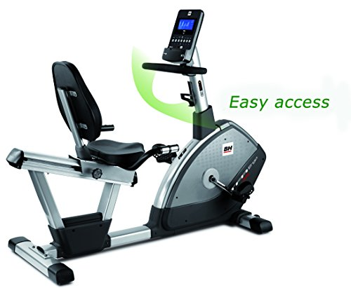 BH Fitness TFR ERGO DUAL H650 Liege-Ergometer - Liege-Fahrrad - Magnetisches Bremssystem - LCD-Bildschirm - Pulsmessung - Transporträder - 12 vorgegebene Profile - Trinkflaschenhalter -
