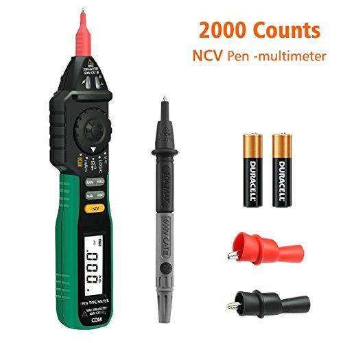Multimètre Numérique, GOCHANGE 2000 Points Testeur de Batterie Stylo Détecteur de Tension Non Contact avec NCV et Auto Rangement, AC DC Testeur de Courant, Diode / Continuité / Logique