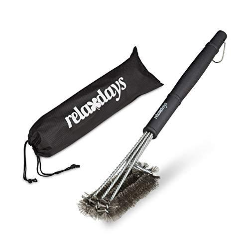 Relaxdays Cepillo para Barbacoa con Funda, Acero Inoxidable, Negro, 11 x 7 x 48 cm