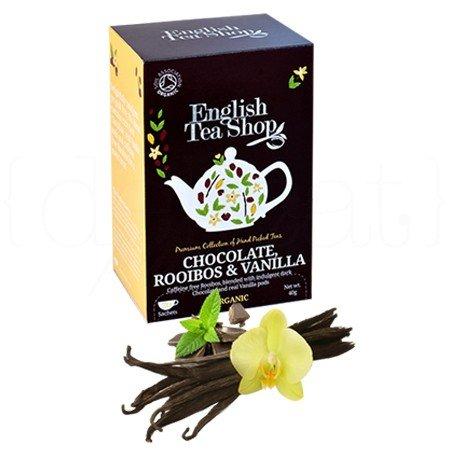 English Tea Shop Schokolade, Rooibos & Vanille Bio natürlich koffeinfrei / Rooibos Bio-Tee mit Schokolade und Vanille natürlich ohne Koffein Prämierte Tee-Sammlung Hand ausgewählt von Sri Lanka - 6 x 20 Beutel (240 Gramm)
