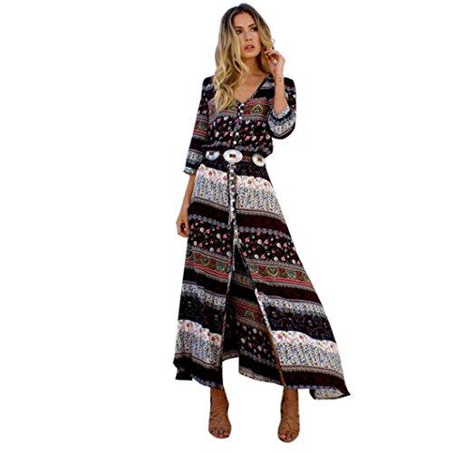 DOLDOA Frauen Sommer böhmische Tunika Blumenparty Beach Long Maxi Kleid Sundress (Größe: XXL Fehlschlag: 108-113cm / 42.5