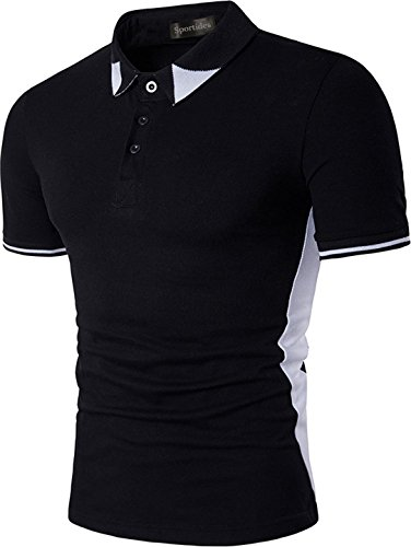 Sportides Herren Leisure Lapel Short Sleeve Polo Shirt T_Shirt Tops JZA017 Black