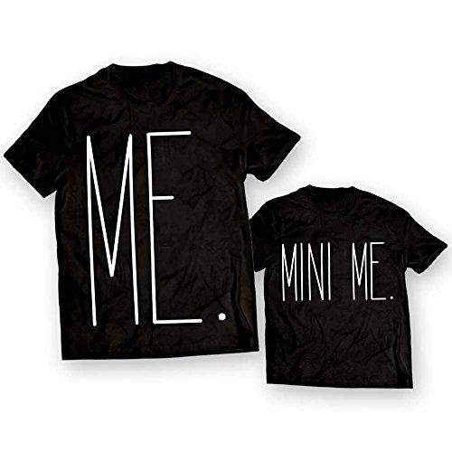 Coppia di T-Shirt Maglie Padre - Figlio Figlia Idea Regalo Festa del Papa' Me Mini Me Nere Uomo L - Bimbo 3-4 Anni