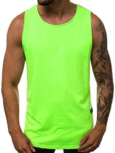 OZONEE Herren Tanktop Basic Unifarben Tank Top Tankshirt T-Shirt Unterhemden Ärmellos Muskelshirt Sport 777/3363BO GRÜN-NEON L (Neon Grünes Tank Top)