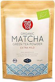 Matcha 108 Matcha Theepoeder, bio-ceremonie-kwaliteit voor extra mild theegenot, ideaal voor thee, smoothies e
