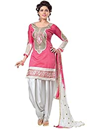 Radhey Arts Pink Chanderi Embroidered Dress Material