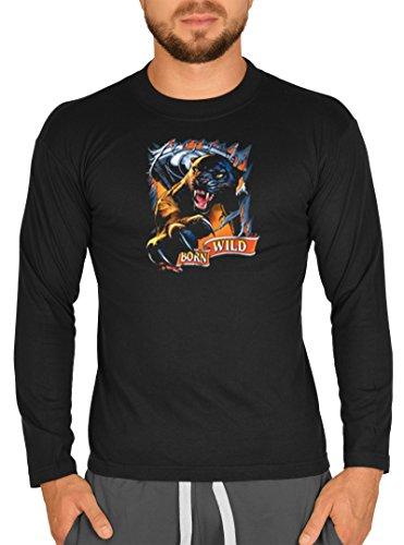 Langarm Herren T-Shirt USA Bike Motiv Born Wild Bike Langarmshirt für Biker Hard Rock Longshirt für Männer Männershirt Laiberl Leiberl Schwarz