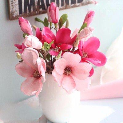 LXFLY Kunstblumen Kunstblumen Kunstblumen Geeignet, Die EIN Wohnzimmer Vase Heimtextilien Dekorative Ornamente Innen-Esstisch Magnolieblumen Kleine Topfpflanzen, DREI Zweig Neun Rosa Rot 3 -