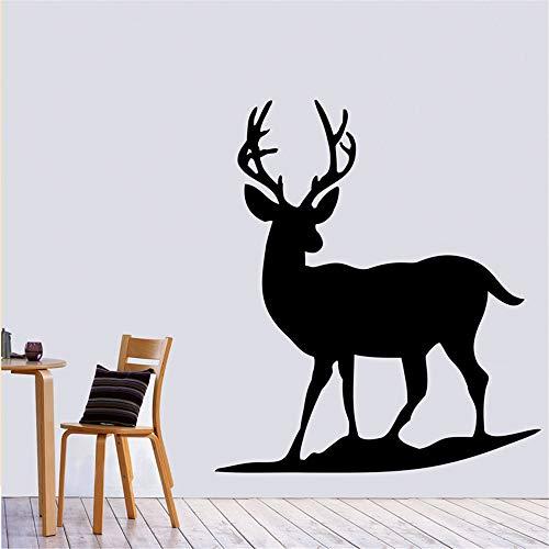 yiyiyaya Lonely Deer Wandtattoo Silhouette Schwarz Selbstklebend Tier Kinderzimmer Wandaufkleber Wohnkultur lila 49x44cm - Deer Run-serie