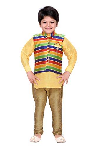 AJ Dezines Kids Kurta Pyjama Waistcoat Set for Boys(1211_GOLD_8)
