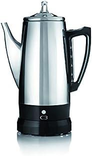 C3 perkolator basic – trådlös, elektrisk kaffeberedare för 4 till 12 koppar, rostfritt stål, silver