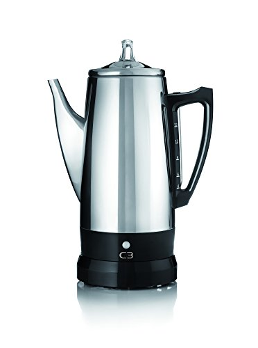 C3 Perkolator Basic - kabelloser, elektrischer Kaffeebereiter für 4 bis 12 Tassen, Edelstahl,...