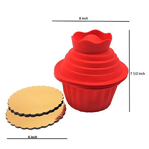 New 5X Big Top Giant Cupcake Silikon Backformen-Set Paket mit 6Gold Kreis wellig Kuchen Boards (Kuchen Kreise Gold)