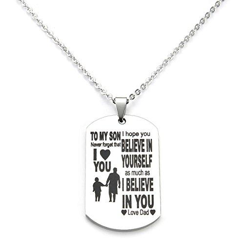 Das beste Geschenk, My Son-Anhänger von Dad, Herren, Jungen, Ketten für Kinder, Kind, Teenager, Liebe, Geschenk, Militärmarke, Hundeanhänger