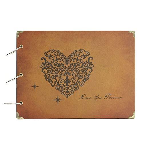 ThxMadam Scrapbooking Foto Album retrò Memoria Libro degli Ospiti di Nozze con 60 Pagine Nere per San Valentino Giorno Anniversario Compleanno Natale Regalo per Figlia Bambini Moglie Madre