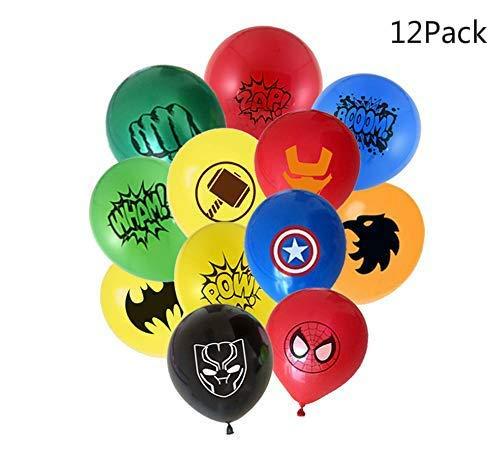 Micher Superhelden-Luftballons 12er Pack 12 Zoll Latex-Luftballons für Kinder Birthday Party Supplies, Perfekt für Mädchen und Jungen Comic-Thema Party und Dekorationen, Avengers Party Dekorationen