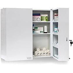 Relaxdays Armadio Porta Farmaci da Muro, Metallo, 53 X 53 X 20 cm, Bianco