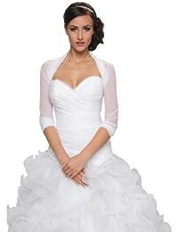 bolro pour jeune marie tulle bolro veste mariage manche longueur 34 ivoire - Tole Blanche Mariage