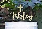 Kuchen-Dekoration mit Kreuz, für Taufe, Konfirmation, personalisierbar, Schriftart 2