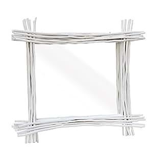 spiegel wandspiegel schminkspiegel badezimmerspiegel holzrahmen natur 90x80 cm holz wei amazon. Black Bedroom Furniture Sets. Home Design Ideas