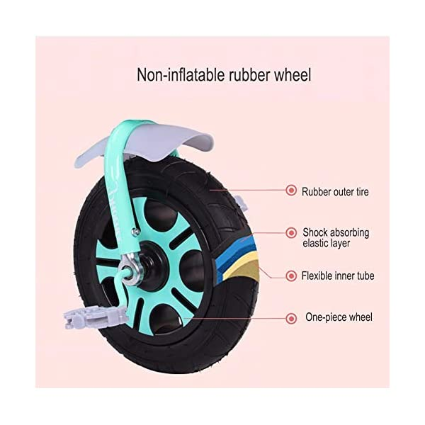 GSDZSY - Children Kids Tricycle Push And Ride Dual Use, With Detachable Push Rod And Rubber Wheel, Safe And Durable, 18 Months - 5 Years Old GSDZSY ❀ Material: High-carbon steel +ABS+ Rubber wheel ,Suitable for 18 Months to 5 years old Child, Maximum Load 30 kg ❀ The Push Rod can be adjusted Height, Pusher can control direction, Suitable for mothers of different heights ❀ Sturdy frame and light weight, the handlebar has a protective sponge cover to protect the child's forehead 7