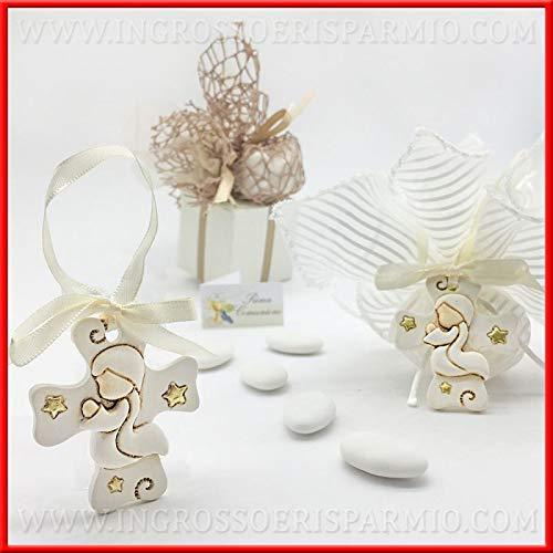 Ingrosso e risparmio 12 appendini in resina a forma di croce con bambino in preghiera prima comunione segnaposto bomboniere (con confezione panna)