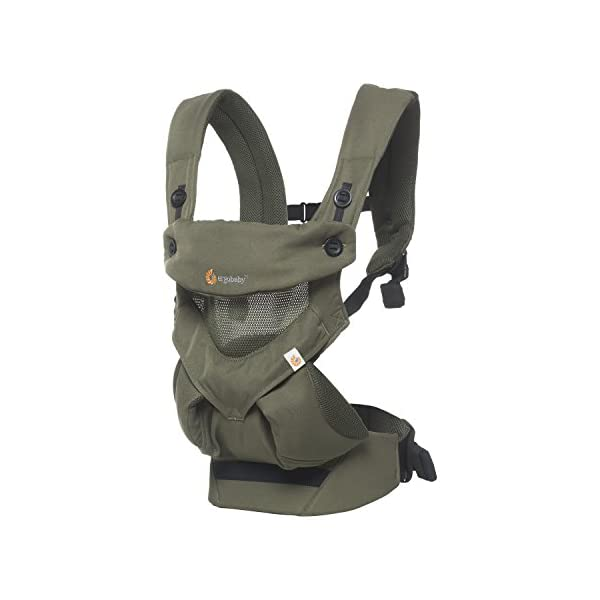 Ergobaby Baby Carrier up to 3 years (12-45 lbs) 360 Cool Air Khaki Green, 4 Ergonomic Carry Positions, Front Back Baby Carrier front facing, Backpack Ergobaby Ergonomic baby carrier for the summer, with 4 ergonomic carry positions: front-inward, back, hip, and front-outward. The carrier is suitable for babies and toddlers weighing 5.5-20 kg (12-45 lbs), and can be used as a back carrier. Also with insert for newborn babies weighing 3.2-5.5 kg (7-12 lbs), sold separately. NEW - The waistbelt with lumbar support can be worn a little higher or lower to support the lower back and provide optimal comfort, and has adjustable padded shoulder straps. The carrier is suitable for men and women. Maximum baby comfort - Breathable 3D air mesh material provides an optimal temperature for your baby on warm days. The structured bucket seat supports the correct frog-leg position for the baby. The carrier also has a neck support and privacy hood with 50+ UV sun protection. 2