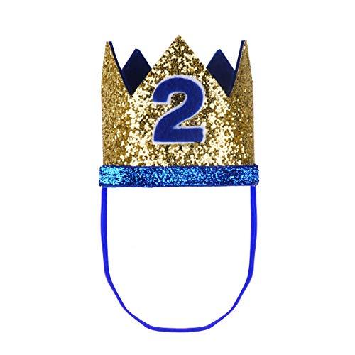 1. Geburtstag Party Kronen mit Zahlen Baby Junge Mädchen 1 jahr Party Kopfschmuck Hut Prinzessin Prinz Kronen Dekoration Zubehör Accessoires für Fotoshooting Blau mit 2 One Size