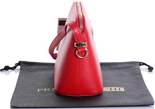 Italiano texture pelle tracolla regolabile triangolare piccola tracolla o borsa a tracolla.Include una custodia protettiva marca Rosso