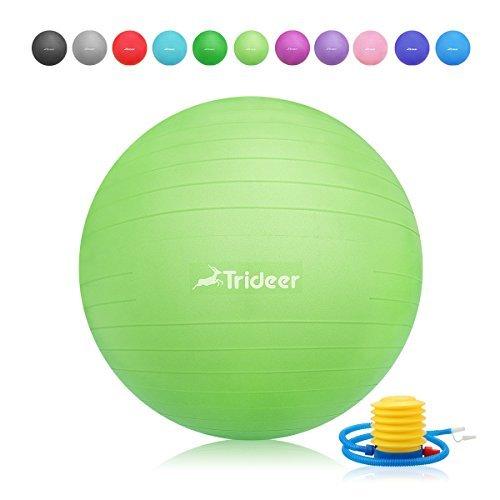 Trideer Robuster Gymnastikball Sitzball Pezziball von 45cm 55cm 65cm 75cm & 85cm inkl. Ballpumpe (Grün, 45cm (Geeignet für 142cm oder weniger))