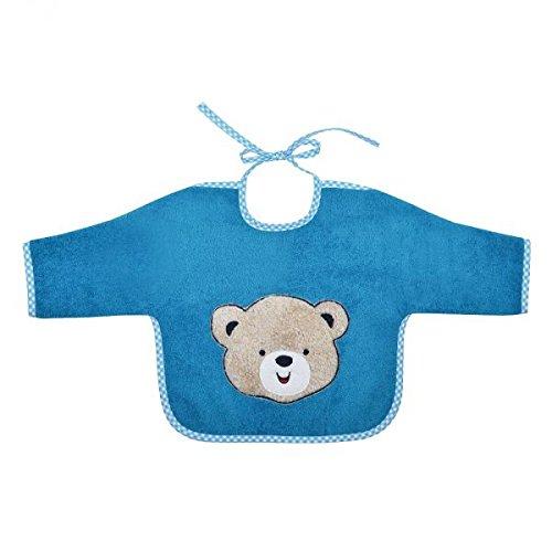 Betz Ärmellätzchen Bindelätzchen Lätzchen Baby Latz 100% Baumwolle Größe 68x34 cm Bestickung Teddybär Farbe: petrol blau