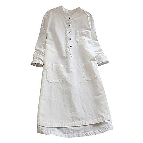 VEMOW Heißer Elegante Damen Frauen Retro Langarm Casual Lose Täglichen Party Tunika Taste Tops Bluse Mini Shirt Kleid(Y1-Weiß, EU-42/CN-L) (über Knie-hosen-socken)