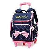XHHWZB Rollender Rucksack für Mädchen mit Federmäppchen & Lunchpaket Schultaschen Rollkoffer mit Rollen (Farbe : Dunkelblau)