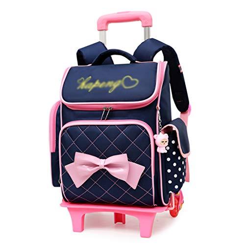 Xhhwzb zaino arrotolabile per ragazze con portapenne e borsa da pranzo borse per scuola zaini con trolley (colore : blu scuro)