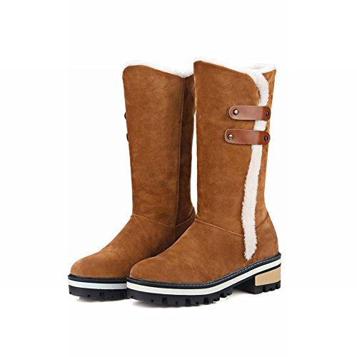 Mee Shoes Damen chunky heels Nubukleder runde langschaft Stiefel Hellbraun