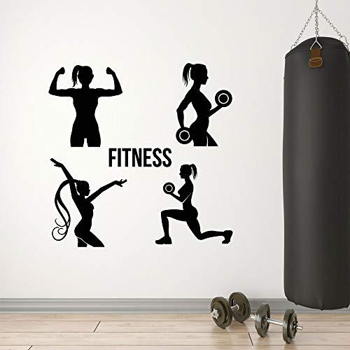 YIYEBAOFU Pinocchio Wand Stickersgym Club Fitness Mädchen Gesundheit Übung Sport Decor Wandaufkleber Vinyl Interior Murals Removable Transfer F42x42cm