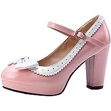 YE Damen Knöchelriemchen Pumps Stiletto High Heels Plateau mit Riemchem und Schleife Elegant Schuhe CpdgIFA00R